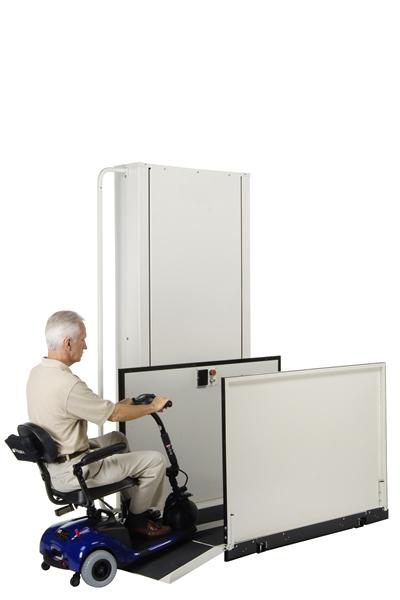 Man using a vertical platform lift