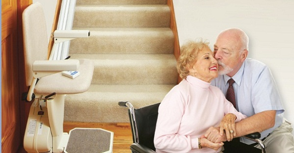 Elderly Couple with Stair Lift